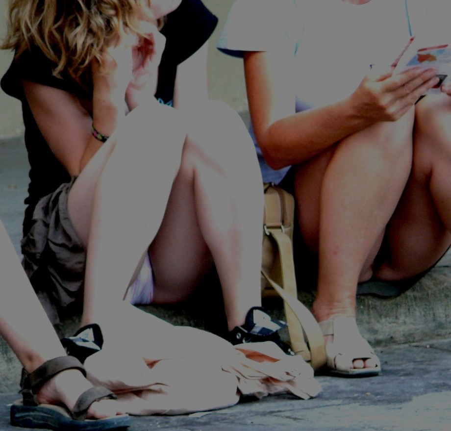Mother and daughter upskirt would