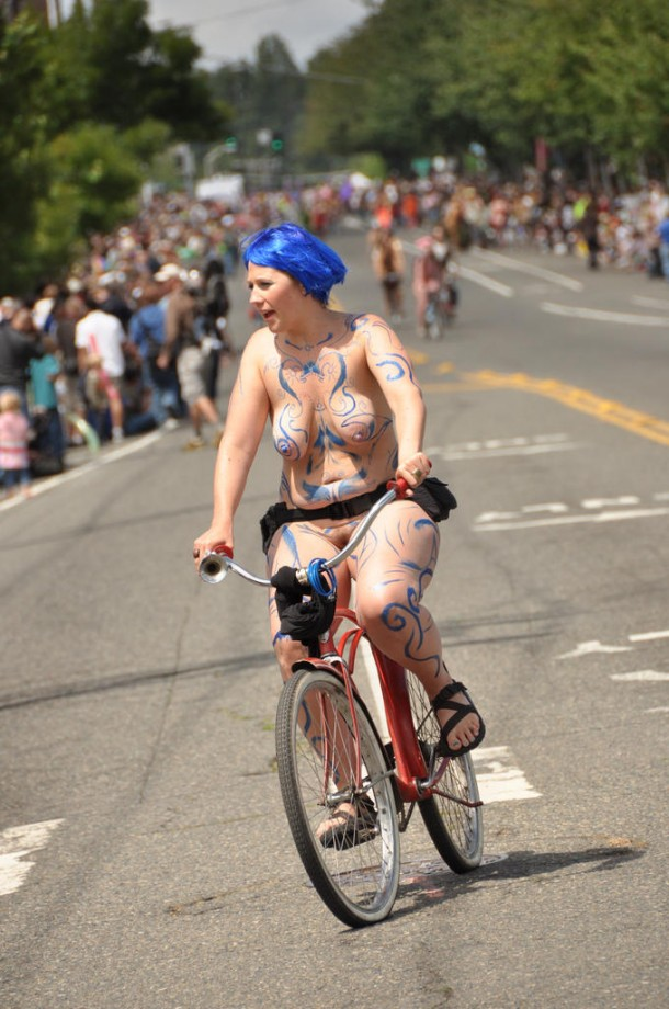 Nude on bicycle in public 99  TOP