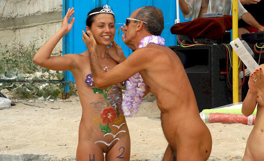 Beach nude body paint with