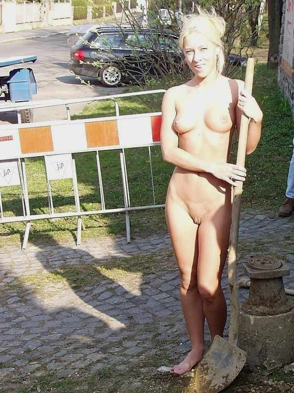 women work Nude working naked at