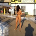 Naked girl at public 15