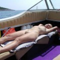 Blonde nude boattrip - holiday pics
