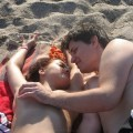 Young teen couple on the beach