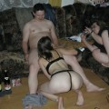 Amateurs threesome with two girls