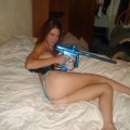 Girlfriend with paintball gun