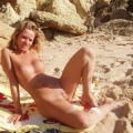 Young blond wife at nudist beach / holiday pics
