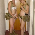 Sexy cute young soldier girls caught naked
