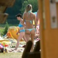 Voyeur teens at beach (bikini and topless pics)