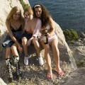 3 girls hyking outdoor camping