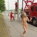 Nice blonde naked outdoor