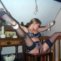 Naked slave girlfriends tied up and handcuffed