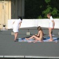 Teens sunbathing in the roof ( voyeur )