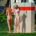 Perfect blond danish teen on nudist beach  - 21