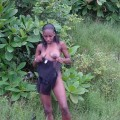 African black girl making stripteas
