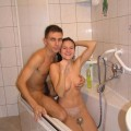 Brunette girlfriend in action with boyfriend