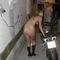 Blonde and her strip show with bike