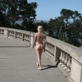 Young naked blod girl naked at public