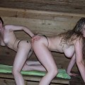 Happy friends in sauna