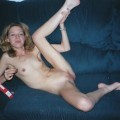 Skinny slut masturbating with big toy