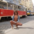 Public nude - naked girl in prague