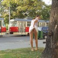 Public nude - another girl upskirt without pants