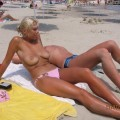 Blond polish girl on beach holiday