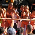 Budapest parade - public party flashing