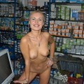 Polish blond posing in the shop