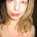 Amateur teen fingering her bloody pussy