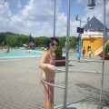 One day at open air pool with nude girlfriend