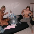 Two girls playing strip poker