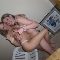 Amateur teens playing strip poker party