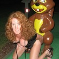 Horny wife playing mini-golf area