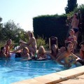 Amateurs young girl and party in a pool 01