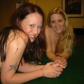 2 babes playing strip poker party