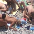 Orgy at a public nude beach