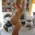 Blonde pregnant wife shows herself naked at home