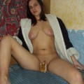 Russian amateur slut shows her naked pussy