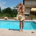 Sexy blonde drunk tits out in pool