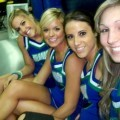 Sexy cheerleaders at basketball