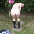 German teen strips in garden