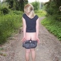 Blonde girlfriend flashing in the woods upskirt