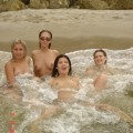 Young girls naked on the beach