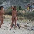 Two naturist lesbian girls on a beach in spain