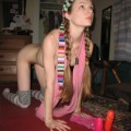 Rebecca does yoga with her dildo !