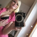 Blonde beauty selfshot in the mirror