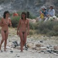 Two nudist lesbian girls on a beach in spain
