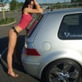 Posing in transapent underwear on car