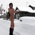 Outdoor naked teen on the snow