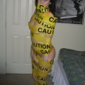 Tight blonde with caution tape